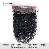 Cabelos Crespos Kinky peruanos pré depenados 360 Lace Fecho Frontal natural do cabelo com cabelo preto natural do bebé de cabelo humano