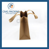 Sac en papier Kraft Brown avec satin nylon (CMG-MAI-023)