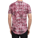 Os homens de atacado do fabricante impressa mangas curtas elegante T-shirt gola redonda