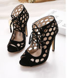 Ahuecado de tacón de moda de zapatos de mujer