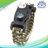 Im Freienc$muti-funktion Armband-Dringlichkeit Sports Überlebens-Armband-Förderung-Geschenk Paracord Armband mit Kompaß, LED-Licht, PAS, Schraubenzieher