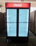 Doppio congelatore di frigorifero di vetro verticale del portello per le bevande