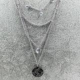 Multilayer Roestvrij staal Necklace met Round Pendant en CZ Stone