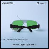 lunettes de protection du laser 635nm et glaces rouges de sécurité de lasers de la diode 808nm et 980nm (RTD-3 630-660nm et 800-1100nm) avec le bâti réglable 36