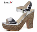 Lady Patent Leather Saltos altos Women Weave Platform Sandals Shoes