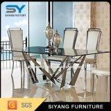 Mobiliário de aço inoxidável Square longa mesa de jantar de vidro