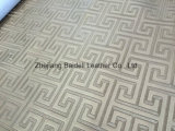 Sofá de PVC de alta qualidade texturizado de alta qualidade / couro de mobiliário com efeito de pérola