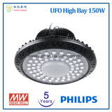 5 años de la garantía 150W de alta luz de la bahía del UFO LED con la viruta de Philips LED y el programa piloto de Meanwell LED
