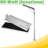 60W Waterproof ao ar livre tudo em luzes de uma rua solares do diodo emissor de luz