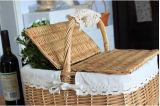 Cesta hecha a mano agradable de la comida campestre del sauce, cesta de mimbre de la comida campestre con el refrigerador (BC-ST1285)