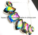 I branelli di vetro con la branca cucono sul Rhinestone dei monili per il diamante della regolazione della collana (colore rettangolo/Interruttore-ovale del Rainbow)