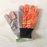 Черный хлопок поставленный точки PVC сверла хлопка руки работы перчатки Glove-2205