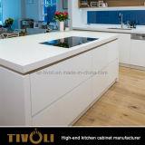Armários de cozinha Cusotm simples e limpa com design de laminado folheado Tivo-0224h