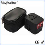 Adapter van de Reis van het Geval van het leer de Verpakkende met 4 Havens USB (xh-uc-014)