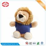 박제 동물 견면 벨벳 사자 착용 파란 t-셔츠 귀여운 작은 장난감