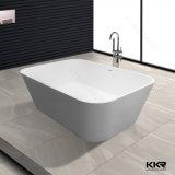 Witte vaste oppervlakte kunstmatige steen vrijstaande badkuip