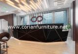 Черный стол приема офиса Corian твердый поверхностный Matt поверхностный