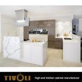 Unità libere della cucina di Laquer di disegno della maniglia con l'isola ed il legno solido Benchtop Tivo-0230h