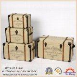 4의 나무로 되는 고대 중첩 직물 인쇄 여행 가방 저장 상자 세트