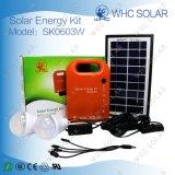 2개의 LED 전구를 가진 3W 휴대용 소형 태양 PV 시스템