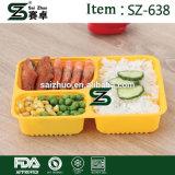 recipiente de alimento seguro da micrôonda 3-Compartment com a caixa de Bento da tampa/bandeja do almoço com tampa