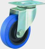 3/4/5 Zoll-blaue elastische Gummischwenker-Fußrolle für Laufkatze