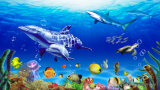 Decoración grande modificada para requisitos particulares de los papeles de empapelar del delfín 3D de la talla libremente a casa