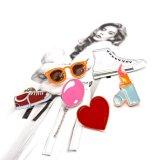 Rotes Inner-Rosa-Ballon-Decklack-Lippenstift-Glas-Schuh-Brosche-Set