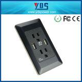 Zoccolo di parete doppio del USB del USB della presa del supporto elettrico nero della parete