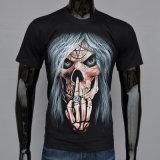 둥근 목을%s 가진 남자를 위한 t-셔츠를 인쇄하는 까만 짧은 소매 3D