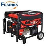 Groupe électrogène électrique d'essence de Fusinda 7kw avec le traitement et les roues non plates