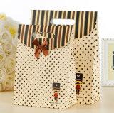 ブラウンクラフトプリントペーパーショッピングギフト手の昇進の上塗を施してあるアートペーパーのキャリアの綿のナイロンロープ(E30)が付いている装飾的な宝石類のパッキング袋