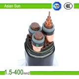 PVC isolé et câble d'alimentation de cuivre revêtu de conducteur de PVC