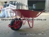 Wheelbarrow resistente com a única bandeja pneumática Wb6411 da roda e do metal
