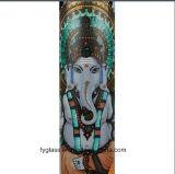 Black Leaf Ganesha Rising Straight Tube Glass Water Pipe