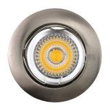 정지하십시오 주조 알루미늄 GU10 MR16 공단 니켈 백색 둥근 조정 중단한 LED 빛 (LT1000)를