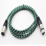 Varón de nylon del cable de la envoltura 3pin XLR de la aleación del cinc a la hembra para el micrófono
