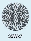 반대로 자전 Ungalvanized 철강선 밧줄 35wx7