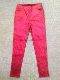Moda textil Color de pantalones vaqueros algodón señoras (1447)