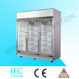 Construido en refrigerador refrigerado vertical de la visualización de la bebida del compresor