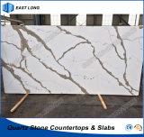 Pedra projetada venda por atacado para a bancada da cozinha da laje de quartzo com padrões do GV (Calacatta)