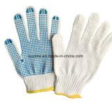 Пвх пунктирной дешевые безопасности рабочие перчатки хлопок трикотажные белые перчатки