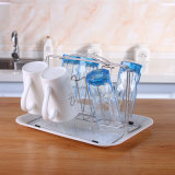 Supporto di tazza di vetro del basamento della Tabella di cucina del metallo con il cassetto di plastica