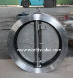 Válvula de verificação dupla da placa da bolacha do aço inoxidável (H77X-10/16)