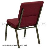 교회 의자를을%s 가진 겹쳐 쌓이는 교회 가구 Burgundy 직물은 버클과 책 주머니를 연결한다