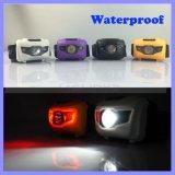 Impermeabilizzare 400 lampada rossa della testa del faro del faro della lampada di protezione di bianco SOS di colore di lumen 3W LED la mini (1118b)