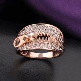 Nuevo anillo del color del oro de los cristales 18K del diseño de la cremallera de la manera