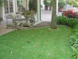 Arrière-cour à la maison chaude aménageant l'herbe en parc de bonne qualité