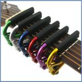 Sintonizador de guitarra na guitarra Capo