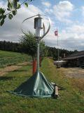 Generador de la turbina de viento vertical 400W24V del uso casero con el sistema híbrido del panel solar